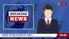 TV wiadomości studio z nadawcy i łamania tła wektoru światową ilustracją ilustracji
