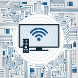 TV, wifi and electronics circuit. Electronics circuit background with a TV with wireless connection Stock Photo