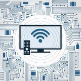 TV, wifi and electronics circuit Stock Photo