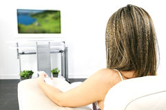Tv woman Stock Photo
