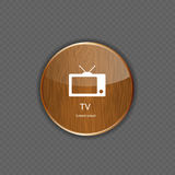 TV wood application icons Stock Photo