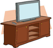 TV on Wooden Console Stock Images