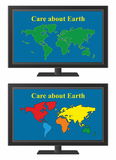 TV with world map Royalty Free Stock Photography