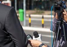 TV wywiad Konferencja prasowa Obrazy Stock