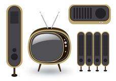 TV y altavoz retros Stock de ilustración