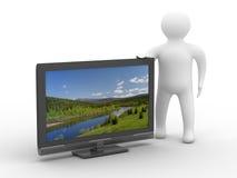 TV y hombre en el fondo blanco Fotos de archivo