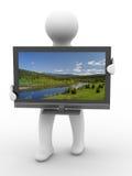 TV y hombre en el fondo blanco Imagen de archivo