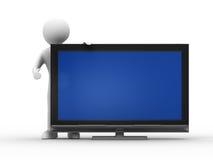 TV y hombre en el fondo blanco Foto de archivo