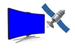 TV y satélite en el fondo blanco Ejemplo aislado 3d Fotos de archivo