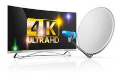 TV y una antena parabólica stock de ilustración