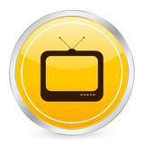 TV yellow circle icon royalty free illustration