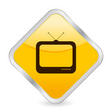 Tv yellow square icon Royalty Free Stock Photo
