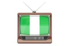 TV z flaga Nigeria Nigeryjski Telewizyjny pojęcie, 3D renderi ilustracja wektor