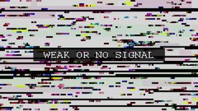 TV zniekształcający sygnał z przylepiający etykietkę ilustracja wektor