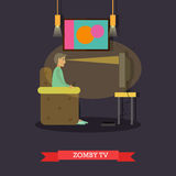 TV zombie concept vector illustration in flat style Stock Image