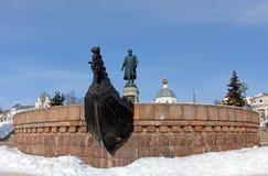 TVER, ΡΩΣΊΑ - 22 Φεβρουαρίου: Μνημείο σε Afanasy Nikitin - russ στοκ φωτογραφίες