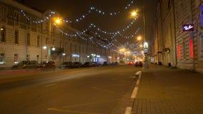 Tver, Россия - 6-ое ноября 2015: Одна из центральных улиц Tver Стоковое Изображение RF