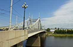 Tver, Old Volga bridge Stock Image