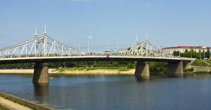 Tver, Old Volga bridge Royalty Free Stock Photography