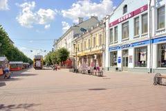 Tver. Pedestrian zone on Трехсвятской to the street Royalty Free Stock Photo