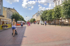 Tver. Pedestrian zone on Trekhsvyatsky to the street Stock Photos