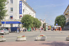 Tver. Pedestrian zone on Trekhsvyatsky to the street Royalty Free Stock Photography