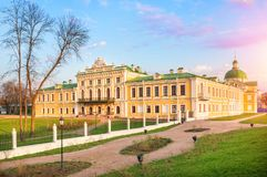 Tver Putevoy Palace. In the rays of the setting sun of spring royalty free stock photo