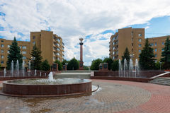 Tver ranks the City of military glory. TVER, RUSSIA - JULY 31, 2016: a Stele in honor of assignment of Tver ranks the City of military glory on The Sovetskaya Royalty Free Stock Image
