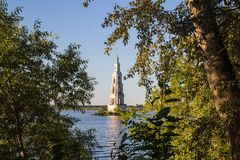 Tver Region, Russia. Kalyazinskaya bell tower: the flooded church in Kalyazin. Tver Region, Russia. Kalyazinskaya bell tower: the flooded church, Tver stock photos
