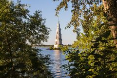 Tver Region, Russia. Kalyazinskaya bell tower: the flooded church in Kalyazin. Tver Region, Russia. Kalyazinskaya bell tower: the flooded church, Tver stock photography