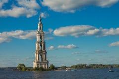 Tver Region, Russia. Kalyazinskaya bell tower: the flooded church in Kalyazin. Tver Region, Russia. Kalyazinskaya bell tower the flooded church in Kalyazin royalty free stock photos