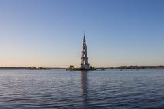 Tver Region, Russia. Kalyazinskaya bell tower: the flooded church in Kalyazin. Tver Region, Russia. Kalyazinskaya bell tower: the flooded church, Tver royalty free stock image