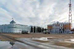 Tver Rosja, Luty, - 27 2016 Twierdzi dom i budynek Tver region CenterTelecom na Sovetskaya kwadracie Fotografia Royalty Free