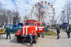 Tver, Russia - April, 30, 2016: festival of fire protection in c stock photo