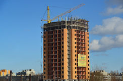 Tver, Russia - February 27. 2016. New multi-storey building under construction Royalty Free Stock Photography