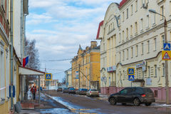 Tver, Russia - February 27. 2016.  Student Street overlooking the building of  river station Royalty Free Stock Images