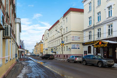 Tver, Russia - February 27. 2016.  Student Street overlooking the building of  river station Stock Photography