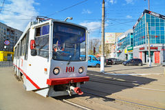 Tver, russia - may 07.2017. 5 tram route at stop Railway station Stock Image