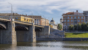 Tver urban landscape with bridge and church Royalty Free Stock Photos