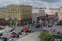 Tverskaya街道在莫斯科 免版税库存照片
