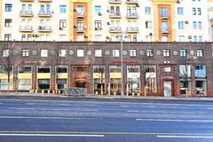 Tverskaya购物街道的,莫斯科衣裳商店 库存图片