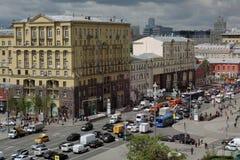 Tverskaya gata i Moskva Arkivbilder