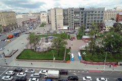 Tverskaya gata i Moskva Arkivbild