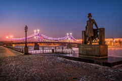 Tverskaya Pushkin embankment. The monument to Pushkin stands on the waterfront in the night Tver lamplight Royalty Free Stock Photos