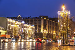Tverskaya street in Christmas decorations, the so-called champagne glasses. Moscow Stock Photo