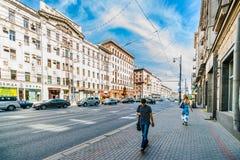 Tverskaya street (main street) of Moscow Stock Images