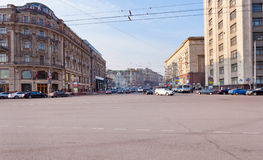 Tverskaya street from Manege square in Moscow Stock Images