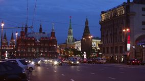 Tverskaya street in Moscow, Russia. Tverskaya street in Moscow with views of the Kremlin, Russia stock video