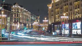 Tverskaya Street timelapse with Wineglass-shaped Street Lamps in Winter Season at frosty night. Moscow, Russia. Festive Tverskaya Street timelapse with Wineglass stock video footage