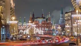 Tverskaya Uliczny timelapse z Kształtować latarniami ulicznymi w zima sezonie przy mroźną nocą moscow Rosji zdjęcie wideo